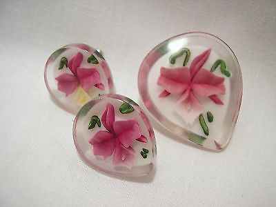 Vintage Reverse Carved Lucite W/orchid Flower Design Pin & Screw Backed Earrings