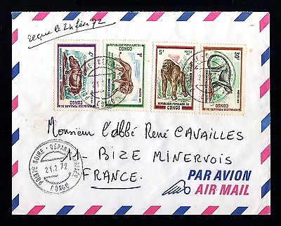 13333-CONGO REPUBLIC-AIRMAIL COVER POINTE NOIRE to MINERVOIS (france)1972.Aerien