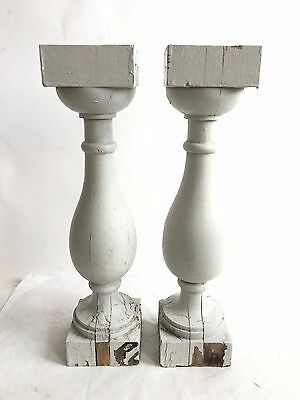 "Two(2) RECLAIMED Wood SHABBY Candle Stand Gray Balusters Vintage A6 3.5"" x 16"""