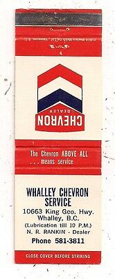 Whalley Chevron Service 10663 King Geo. Hwy. Whalley BC Matchcover