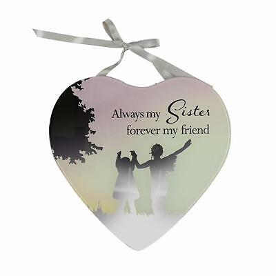 Sister Gift - Heart Shaped Mirrored Hanging Plaque Gift 61412 WB