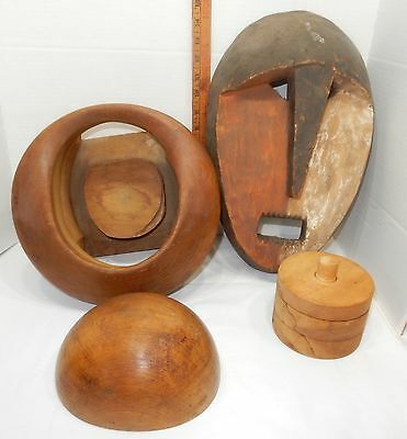 Antique Wooden Hat  MILLINERY FORM mold, Includes Hat  Mold Art item; 4 pieces