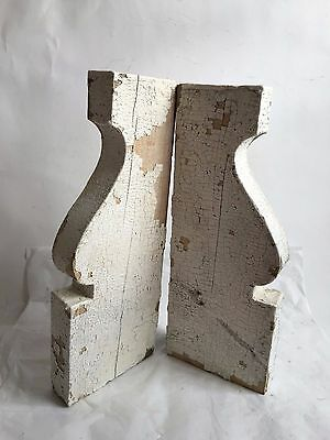 Antique Pair(2) 1890's Wood Corbels Brackets Gingerbread Victorian White A9