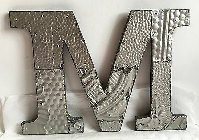 "Shabby Antique Tin Ceiling Wrapped 12"" Letter 'M'' Patchwork Metal Silver R2"