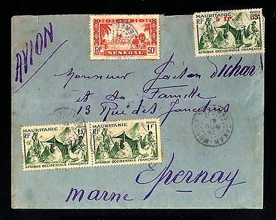 13467-SENEGAL-AOF-AIRMAIL COVER DAKAR to EPERNAY(france)1944.WWII.French colonie