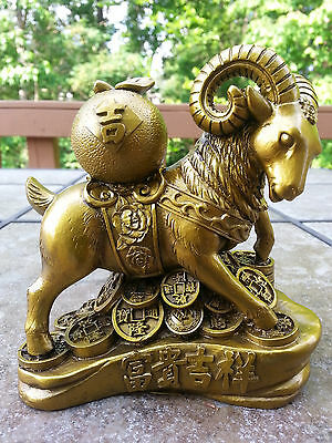 "Lucky Money Wealth goat Statue 5""h"