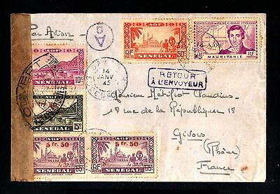 13568-SENEGAL-AOF-AIRMAIL CENSOR COVER DAKAR to GIVORS (france)1945.WWII.French