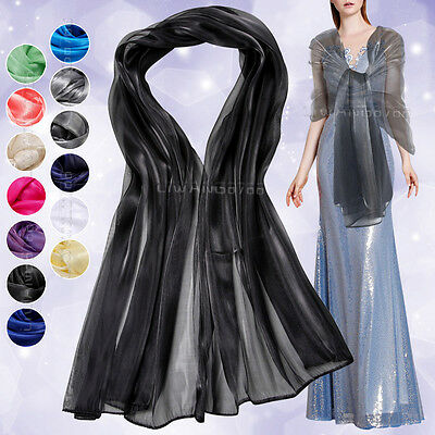 Silky Iridescent Wrap Stole Shawl For Weddings Bridal Evening Wear Prom Parties
