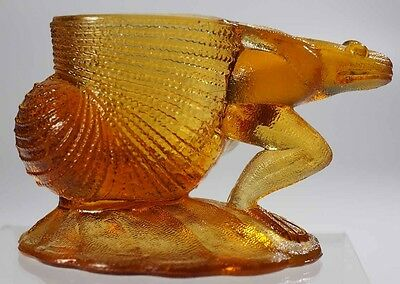 L. G. Wright - Frog and Shell Toothpick Holder - Amber