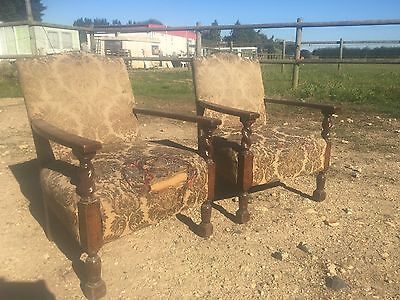 Pair Fireside Chairs Barley Twist  Oak Frame Sold For Re-upholstery