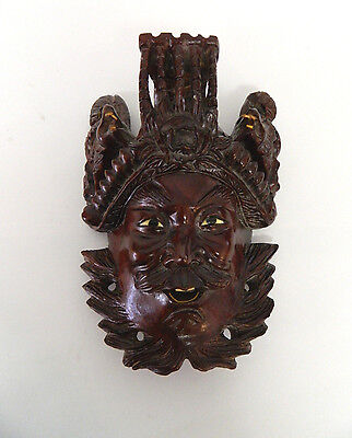 "8"" Vintage Asian Chinese Emperor & Dragons Hand Carved Wood Mask Rosewood"