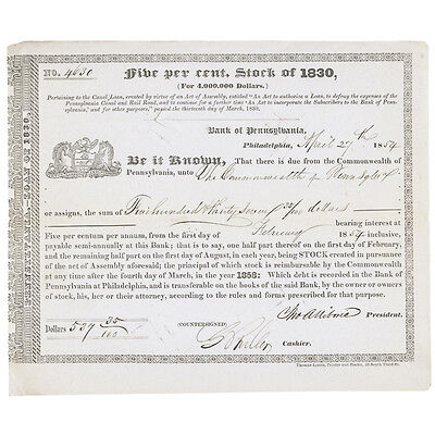 1854 Pennsylvania Canal and Rail Road Stock Certificate