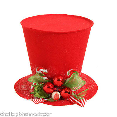 RAZ Red Top Hat Christmas Decoration 9 in rzchhh NEW Holly Houndstooth