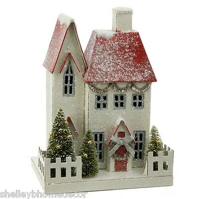 Large White Putz House with Red Roof and Fence Christmas rzchtw 3600509 NEW