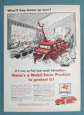 1953 What'll They Dream Up Next Series Mobil Ad AUTOMATIC EGG COLLECTOR