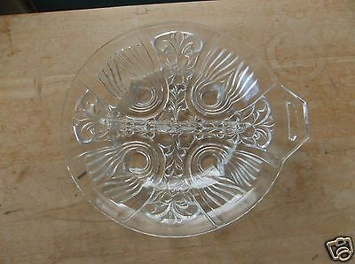 Indiana Glass Killarney Clear Glass Two-Part Tab Handled Relish Dish