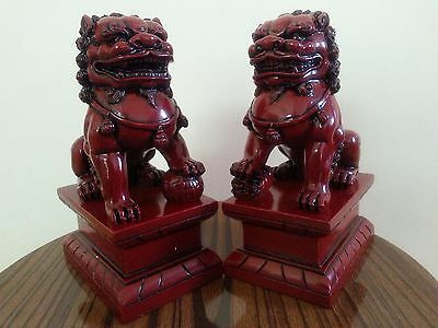 """6""""5H Chinese Feng Shui Foo Dogs Statue Lucky Wealth Figurine Gift & Home"""