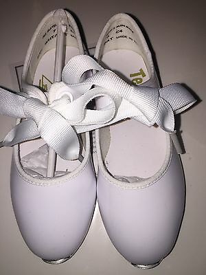 NEW TEMPO BY LEO's PATENT WHITE DANCE Tap Shoe for Girls Size 7M C4