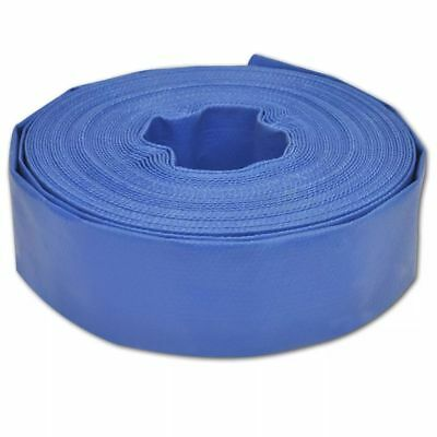 "25 m 2"" PVC Flat Water Delivery Hose Discharge Pipe Pump Lay Flat Blue"