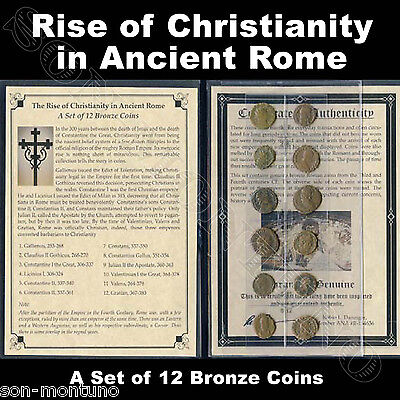 RISE OF CHRISTIANITY IN ANCIENT ROME - A Set of 12 Bronze Biblical Roman Coins
