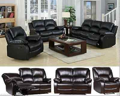 New Luxury Valencia Bonded Leather Recliner Sofa Suite Black BROWN Settee Suite