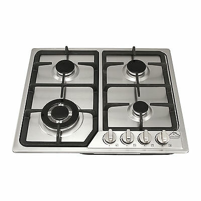 WindMax 58cm 4 Burner Gas Cooktop Stainless Steel With Cast Iron Trivets UK