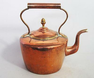SUPERB GEORGIAN ANTIQUE COPPER KETTLE with DOVETAIL SEAM pan brass
