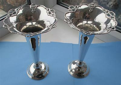 Superb Large & Immaculate Pair Of Solid Silver Flower Vases Hallmark B'ham 1910
