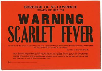 1923 Board of Health Infectious Disease Window Card Sign WARNING Scarlet Fever