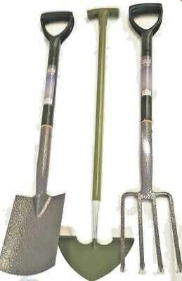 Border Fork, & Spade & Lawn Edging Knife SET Green Handle