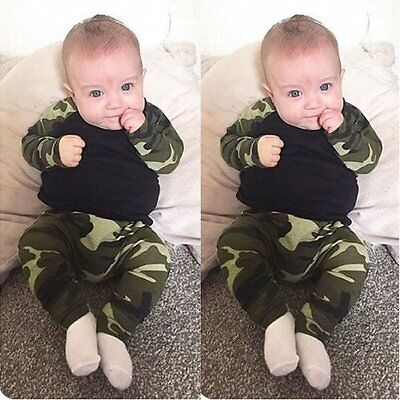 0-2Y Camouflage Newborn Baby Boys Kids T-shirt Top+Long Pants Outfit Clothes Set