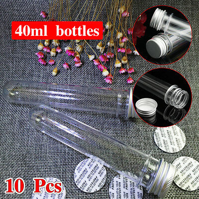 Plastic Lab Test Tubes with Metal Caps Stoppers Screw Top Lid Round Bottom