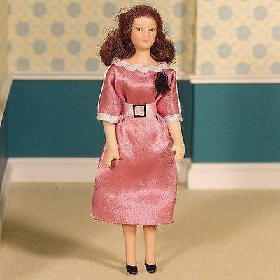 DOLLS HOUSE DOLL1/12th SCALE  MODERN WOMAN IN PINK SATIN DRESS