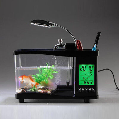 Mini Black USB Aquarium LCD Fish Tank Display Clock Led Lamp Light and Sound
