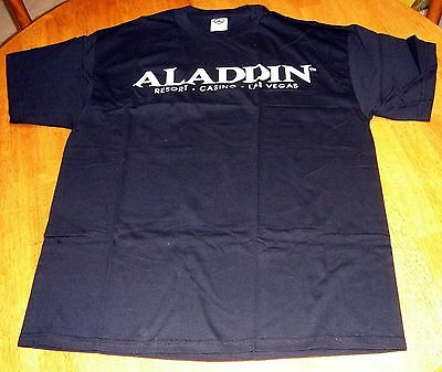 ALADDIN Casino LAS VEGAS~NOW CLOSED~Vtg T-Shirt~Size L Large~BLACK~Never Worn