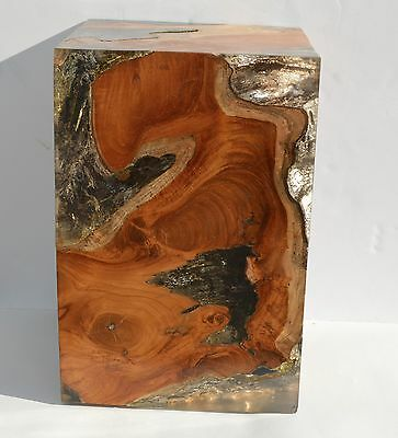 Magnificent Burl Wood Lucite/plastic End Table Night Stand By The Interlude Co.