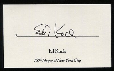 Ed Koch Signed 3x5 Index Card Autographed Signature Mayor of New York City