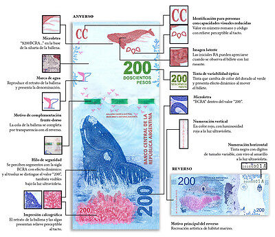 Argentina NEW 200 Pesos Banknote UNC Gem. New Design Lowest Shipping worldwide