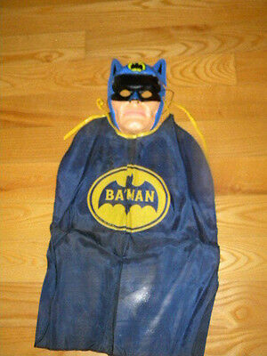 Vintage 1960's Early 70's DC Plastic Batman Halloween Mask and Cape