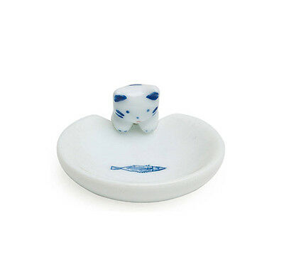 Blue & White Cat & Fish Chopstick Rest Made In Japan