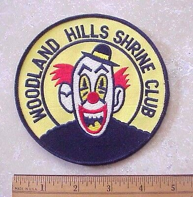 """Woodland Hills Shrine Club California Embroidered Large 5"""" Diameter Clown Patch"""