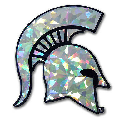 michigan state university spartans silver reflective 3d domed logo vinyl decal
