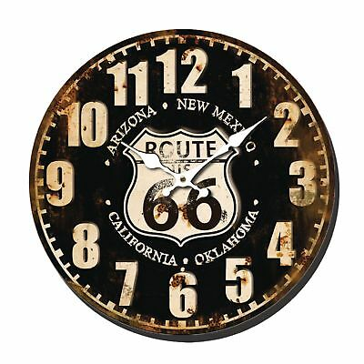 Shabby Chic Vintage Style 40cm Wall Clock Large Route 66 Kitchen Room House Home