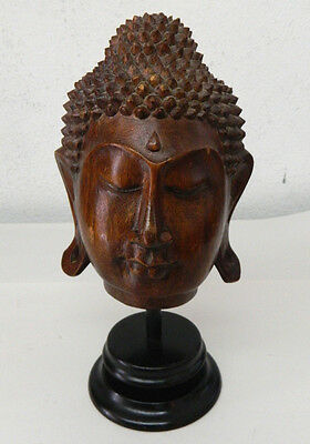 Hand Carved Wood Buddha Sukhothai Style Head Statue Asian Figure Decoration #1