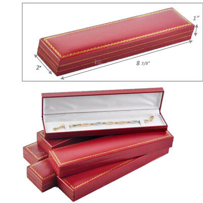 Lot Of 7  High Quality Leatherette Red Bracelet Box Jewelry Gift Box Watch Box
