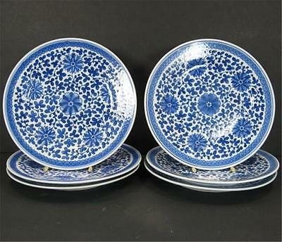 Blue White Interlocking Lotus Design Salad Plates 7in x 6