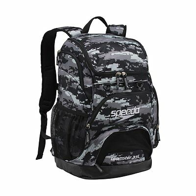 Speedo Large Teamster Backpack Swim Swimming Sport Gear 35-Liter, Digi Camo Grey