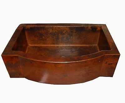 12 Rounded Apron Front Farmhouse Kitchen Single Welll Mexican Copper Sink