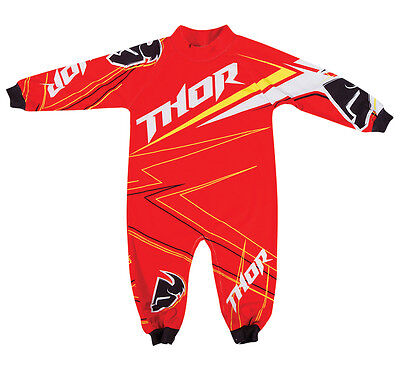 Thor S14 Motocross Infant Stripe Pajamas Red 0-6 Months