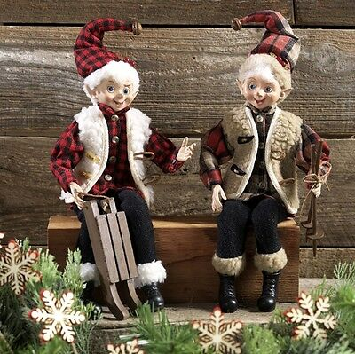 Elf set of 2 in Winter Flannel and Wool with Ski Poles & Sled rzchca 3602229 New